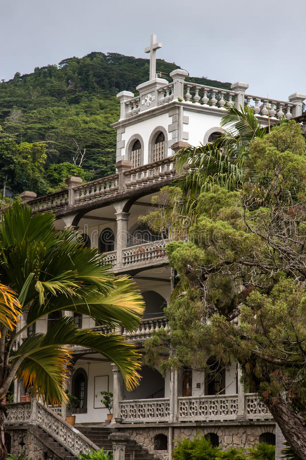 Capuchinhus Victoria Seychelles royaltyfri bild