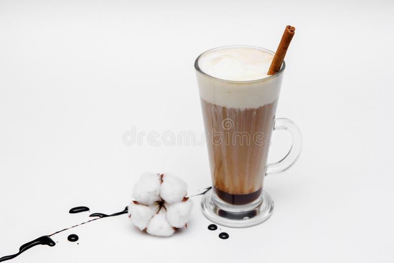 Capuchino del café con las estrellas del canela y del anís en el fondo blanco foto de archivo