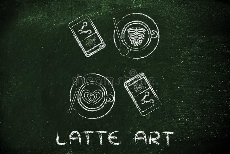 Capuchinos, panadería y teléfonos con arte del Latte del texto ilustración del vector