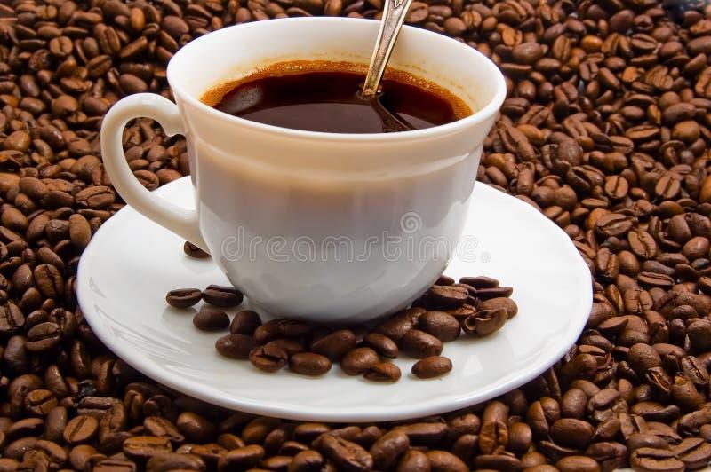 Capuchon de café avec des haricots de cofee image stock