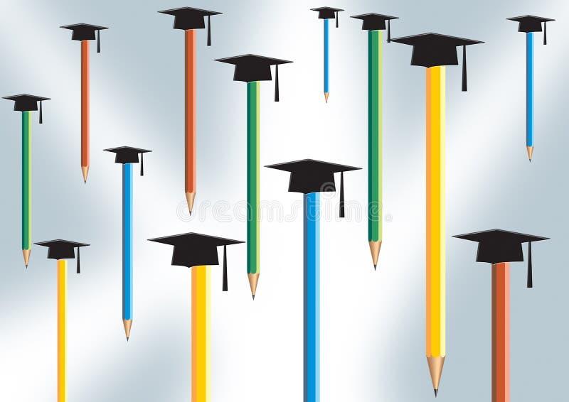 Capuchon de crayon et de diplômé illustration stock