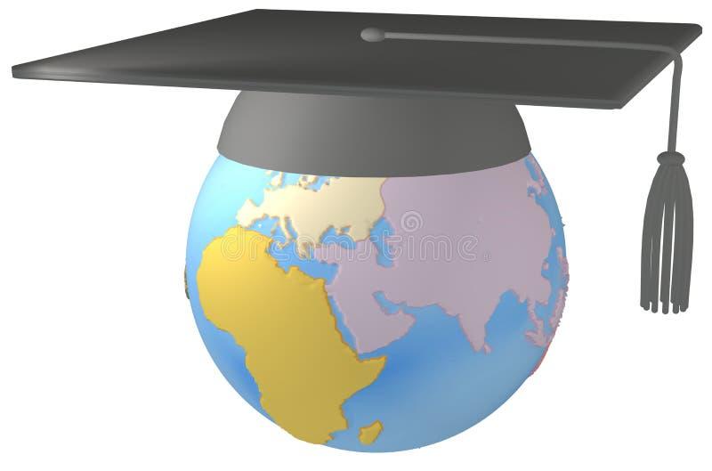 Capuchon de graduation de panneau de mortier d'éducation sur terre illustration libre de droits