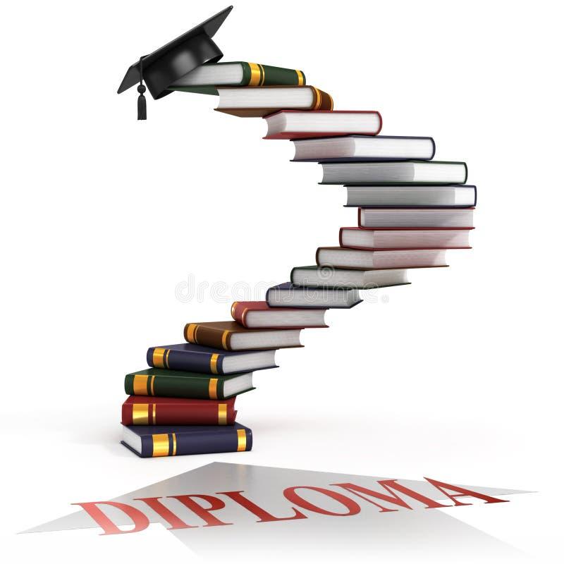Capuchon de graduation sur les escaliers faits de livres illustration stock