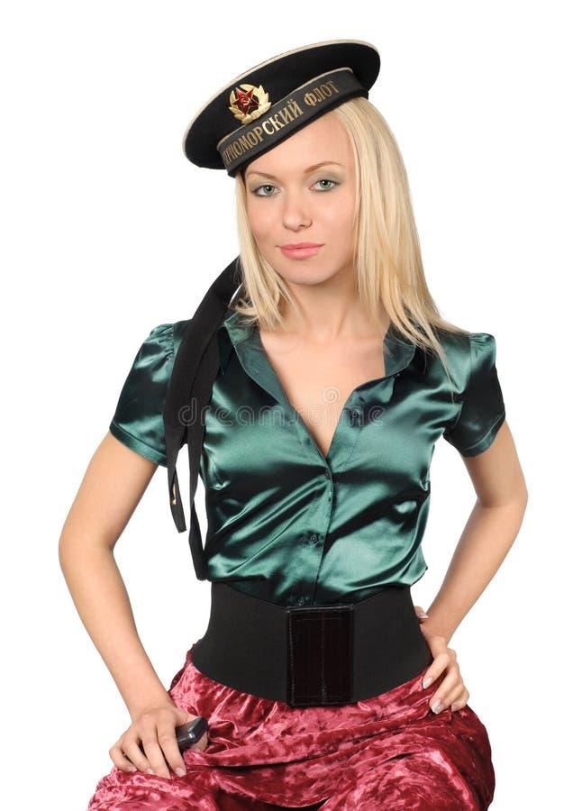 Capuchon de marin soviétique s'usant blond photographie stock