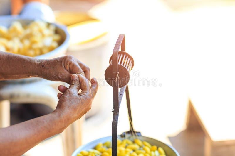 Capullos amarillos de ebullición del gusano de seda por la caldera para hacer el hilo de seda imágenes de archivo libres de regalías