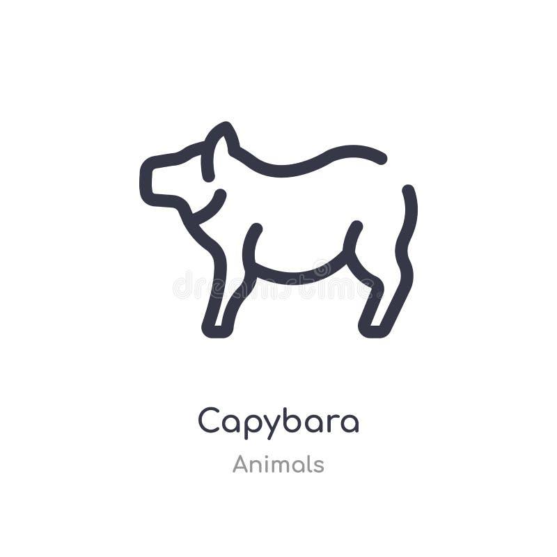Capybaraentwurfsikone lokalisierte Linie Vektorillustration von der Tiersammlung editable Haarstrich Capybaraikone auf Weiß stock abbildung