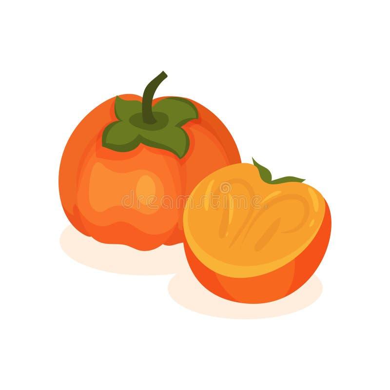 Caqui inteiro e meio e maduro Fruto saboroso e saudável Tema do alimento Elemento liso do vetor para o empacotamento do produto ilustração stock