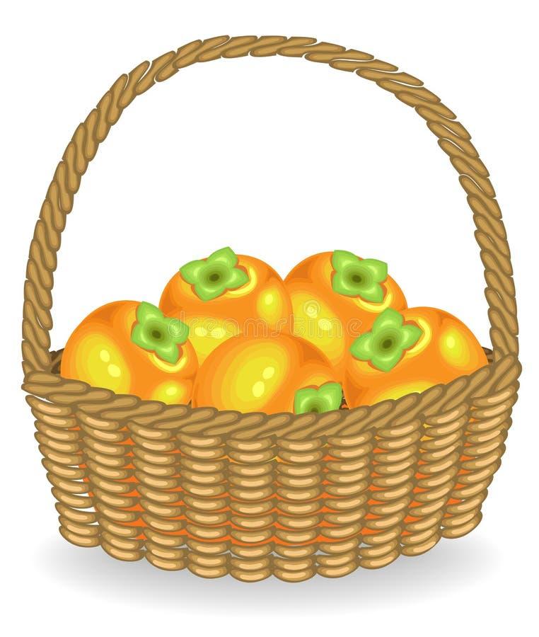 Caqui jugoso fresco de la cosecha abundante La fruta es muy sabrosa y vitamina Una invitaci?n exquisita para la salud y el placer libre illustration