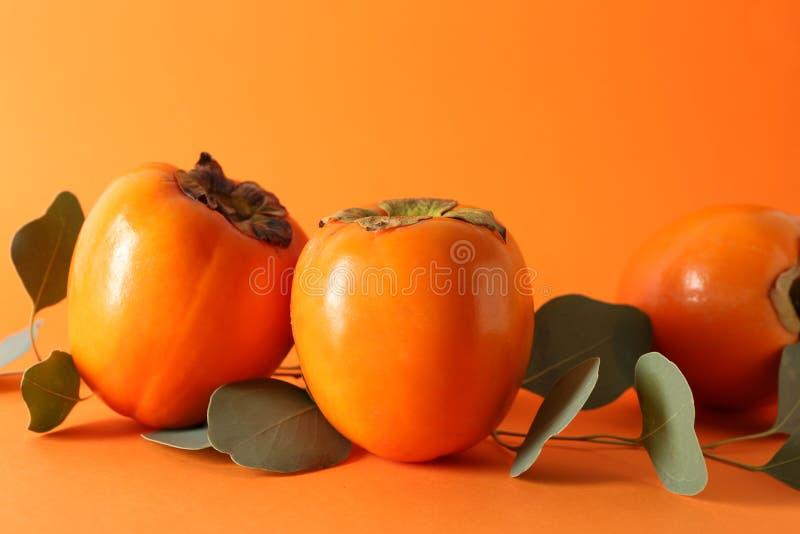 Caquis maduros dulces en fondo del color fotografía de archivo