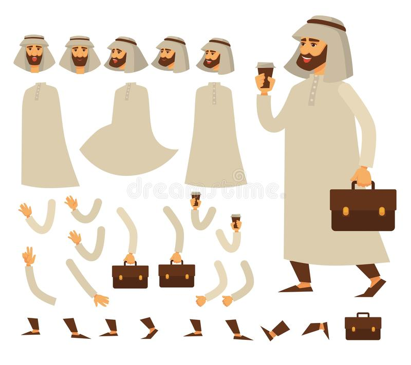 Carácter árabe animado de los asuntos divertidos, constructor árabe del hombre stock de ilustración