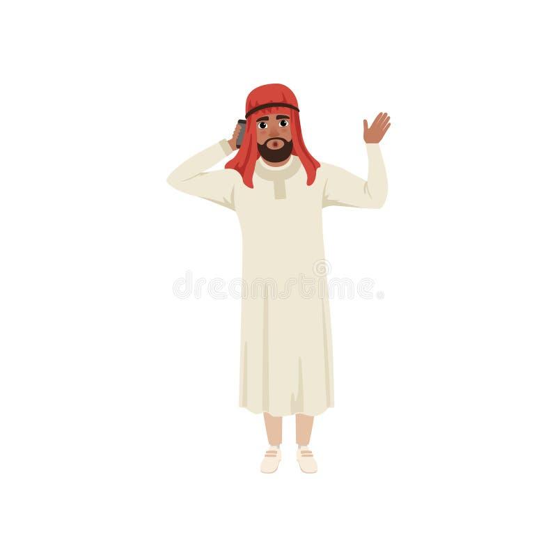Carácter árabe del hombre de negocios que habla por pone y que agita su mano, hombre musulmán en el ejemplo tradicional del vecto stock de ilustración