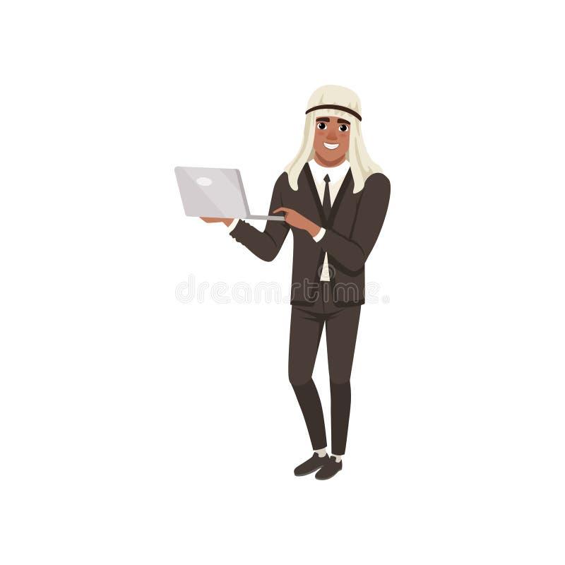 Carácter árabe del hombre de negocios que se coloca con el ordenador portátil, hombre musulmán en el ejemplo del vector del desga libre illustration
