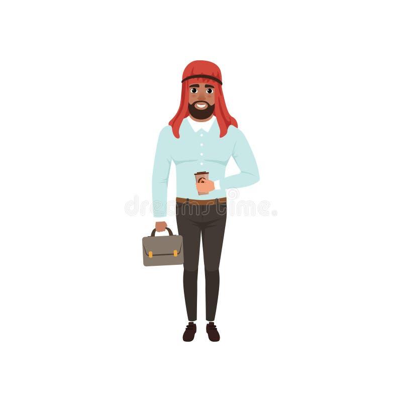 Carácter árabe del hombre de negocios que se coloca con la cartera y la taza del café, hombre musulmán en el ejemplo del vector d ilustración del vector