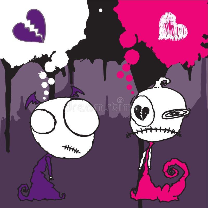 Carácter 2 de la tarjeta del día de San Valentín de Emo stock de ilustración