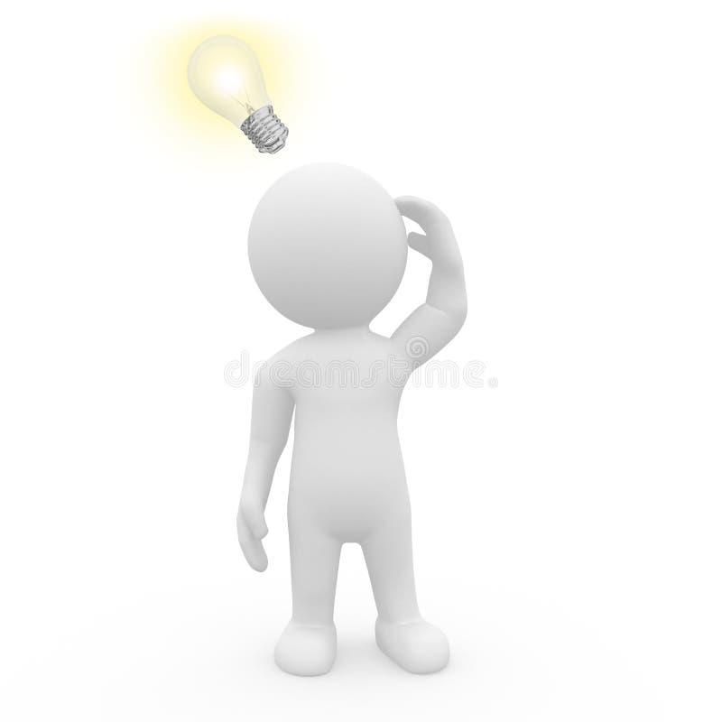 carácter 3D con la bombilla iluminada stock de ilustración