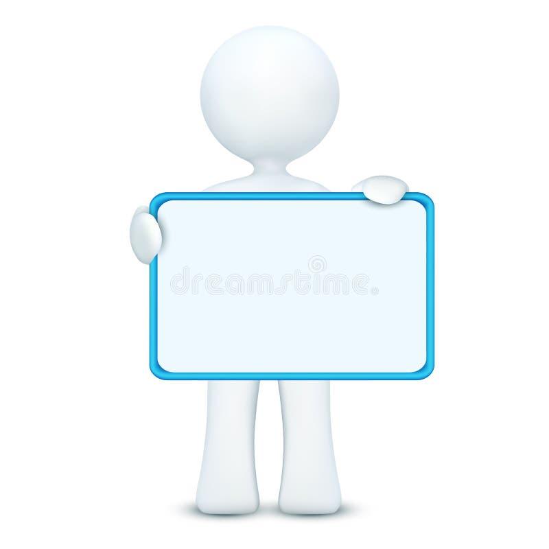 carácter 3d que lleva a cabo a la tarjeta en blanco ilustración del vector