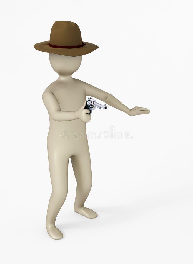 carácter 3D que sostiene un arma stock de ilustración