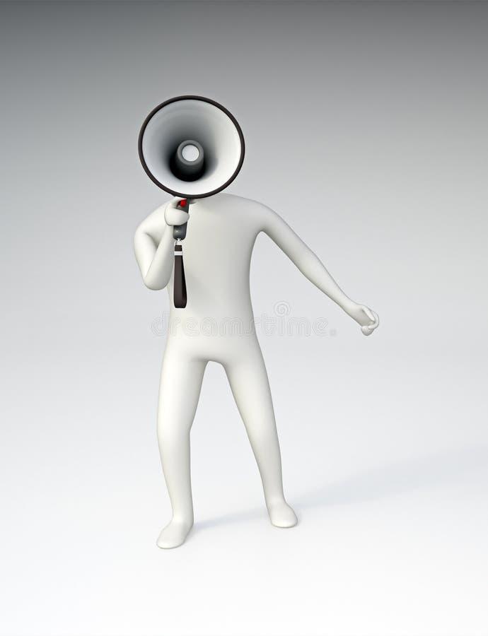 carácter 3D que sostiene un megáfono libre illustration