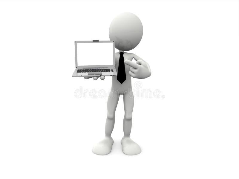 carácter 3D y ordenador portátil libre illustration