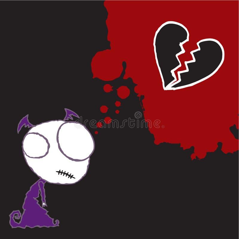 Carácter 4 de la tarjeta del día de San Valentín de Emo ilustración del vector