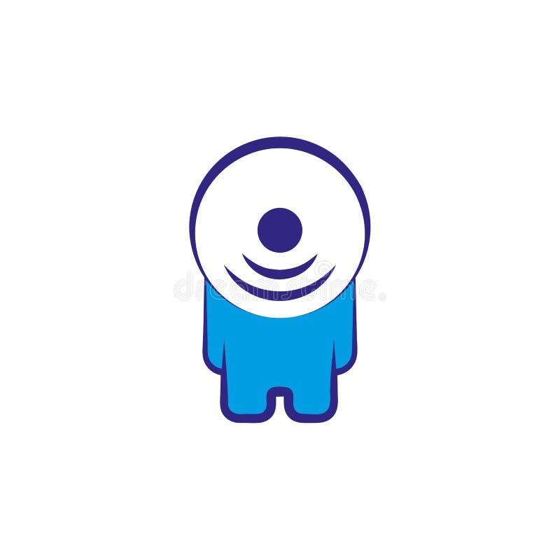 Carácter abstracto de la persona del vector con la cabeza del símbolo de los wi fi ilustración del vector