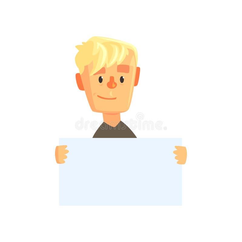 Carácter adolescente sonriente del muchacho con el pedazo de papel en blanco Niño de la historieta en camiseta negra Individuo qu ilustración del vector