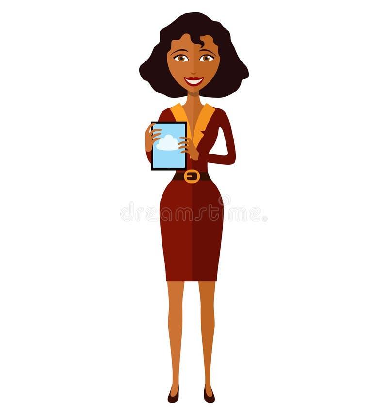 Carácter afroamericano feliz de la mujer con el illust del vector de la tableta ilustración del vector