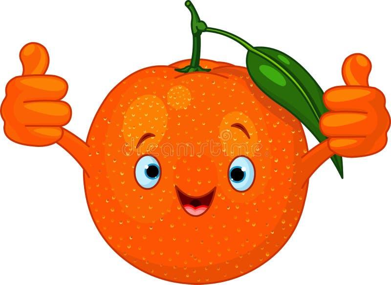 Carácter alegre de la naranja de la historieta ilustración del vector