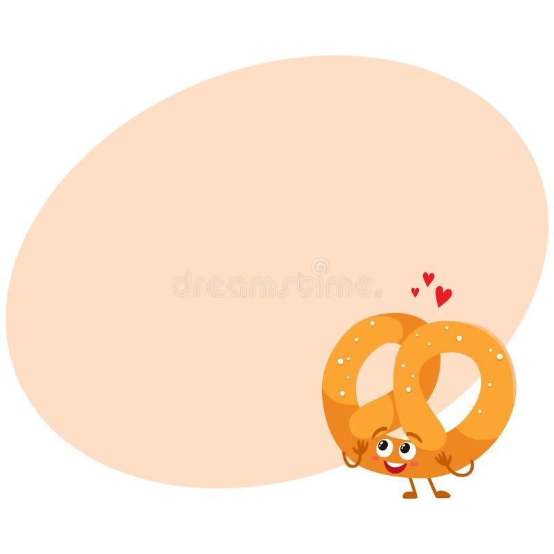 Carácter alemán suave y curruscante divertido del pretzel con la cara sonriente stock de ilustración