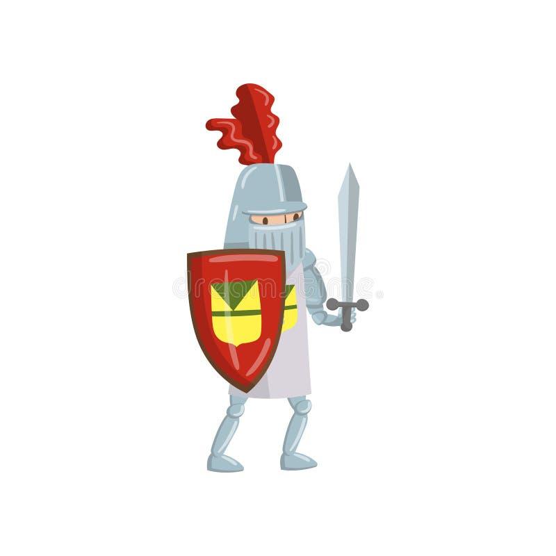 Carácter amed medieval del caballero con el escudo y la espada, cuento de hadas o ejemplo medieval del vector de la historieta de ilustración del vector