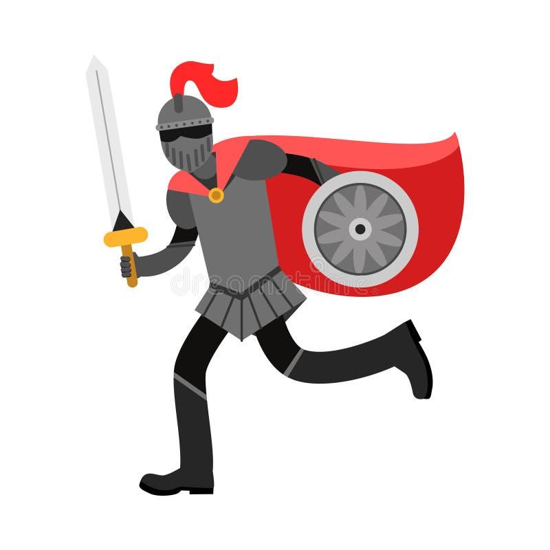 Carácter amed medieval del caballero en el cabo rojo, ejemplo colorido libre illustration