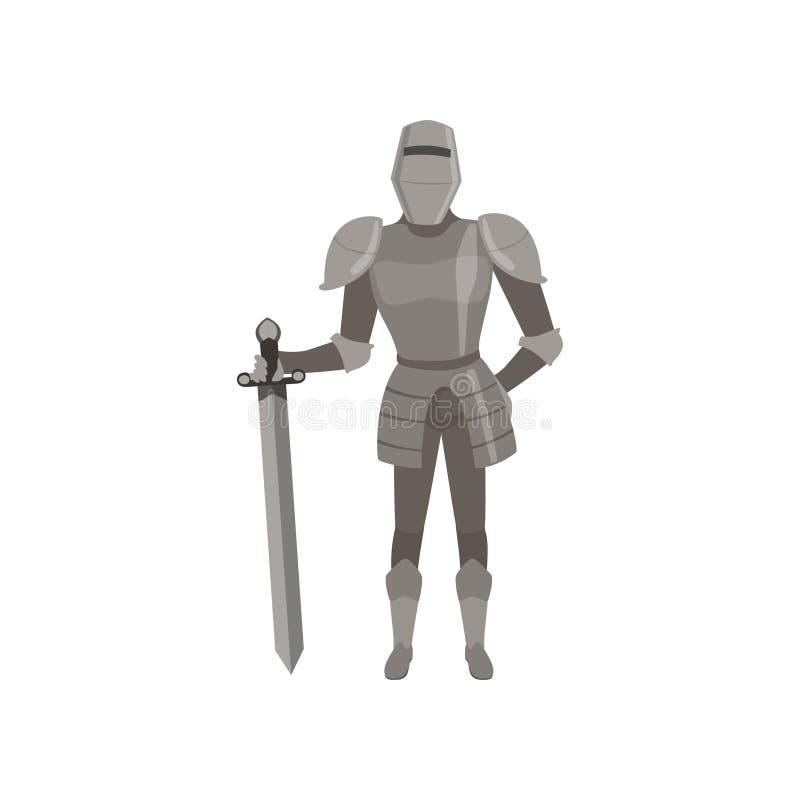 Carácter amed medieval del caballero que se coloca con el ejemplo del vector de la espada en un fondo blanco stock de ilustración