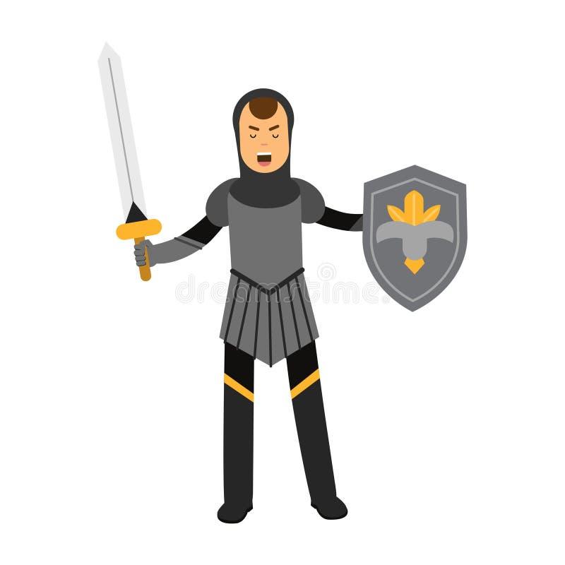Carácter amed medieval del caballero que se coloca con el escudo y la espada, ejemplo colorido ilustración del vector