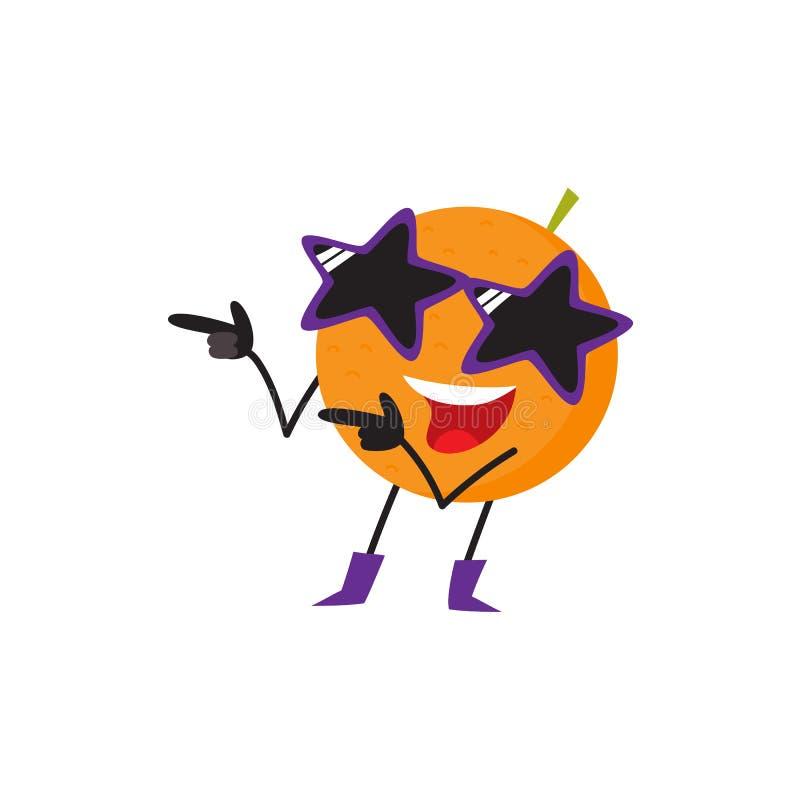 Carácter anaranjado divertido de la fruta que se divierte en el partido ilustración del vector