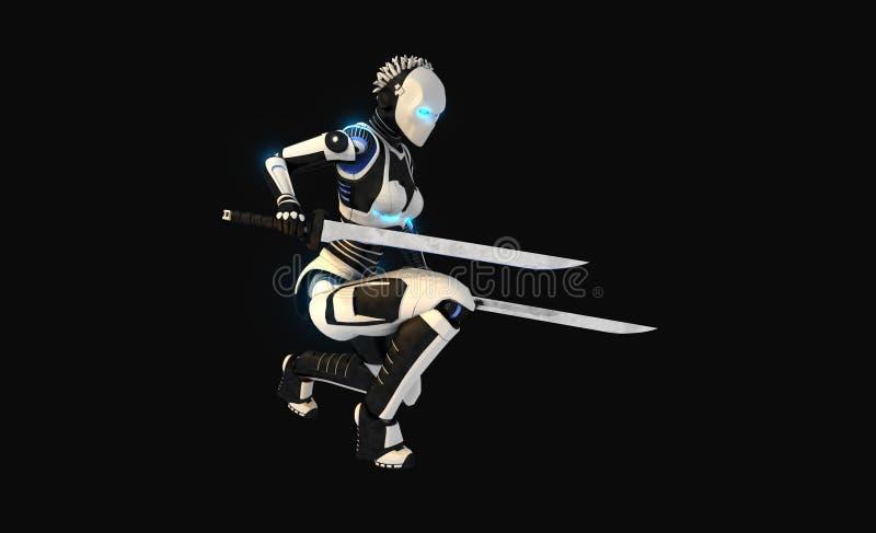 Carácter androide stock de ilustración