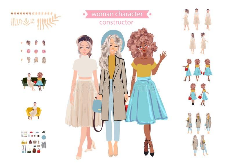 Carácter animado de la mujer Constructor del personaje de la señora joven Diversas posturas, peinado, cara, piernas, manos, ropa, libre illustration