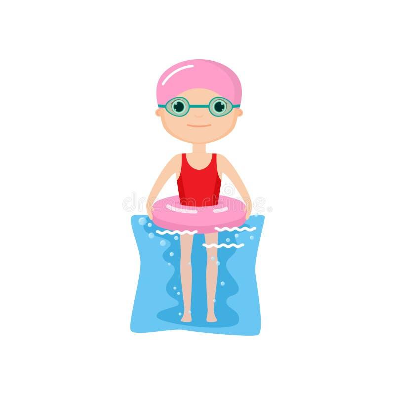 Carácter animado lindo con el anillo inflable rosado en agua libre illustration