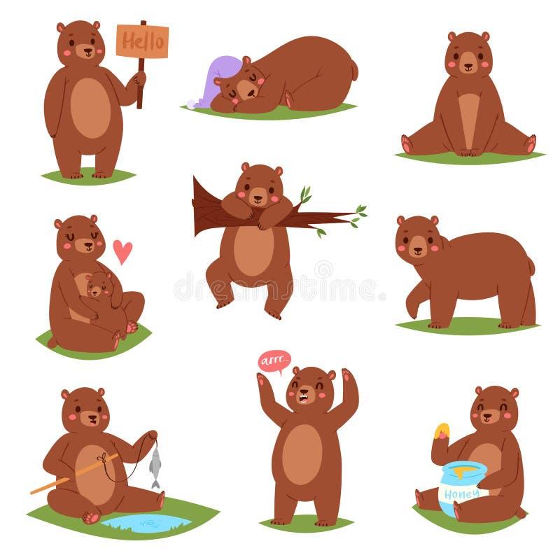 Carácter animal de la historieta determinada del vector del oso y grisáceo marrón lindo que comen el sistema animalista del ejemp libre illustration