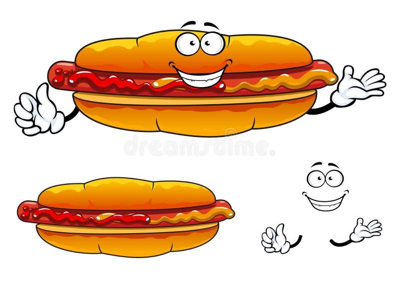 Carácter asado a la parrilla historieta del perrito caliente de los alimentos de preparación rápida stock de ilustración