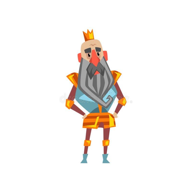 Carácter barbudo divertido del rey en el ejemplo de oro del vector de la historieta de la corona stock de ilustración