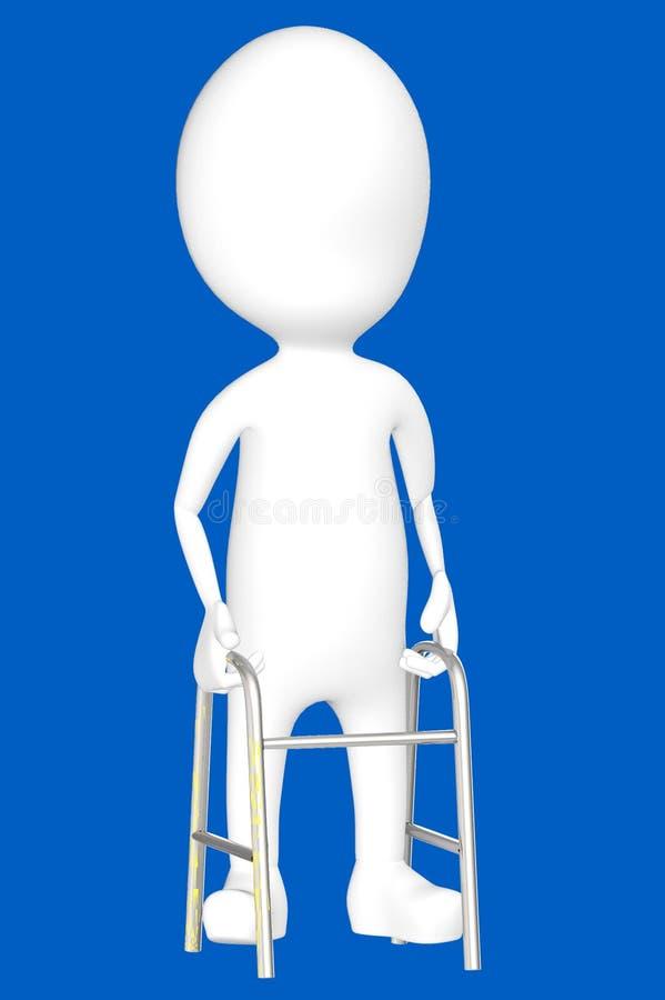 carácter blanco 3d con los cruches ilustración del vector