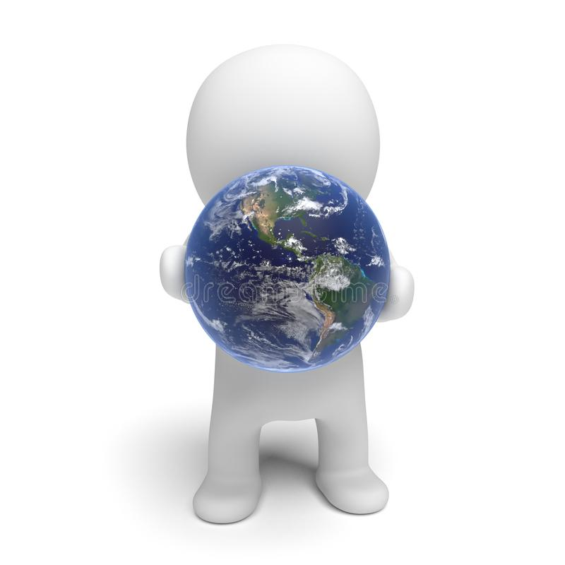 Carácter blanco 3d que celebra el ejemplo de la tierra 3d del planeta aislado en un fondo blanco libre illustration