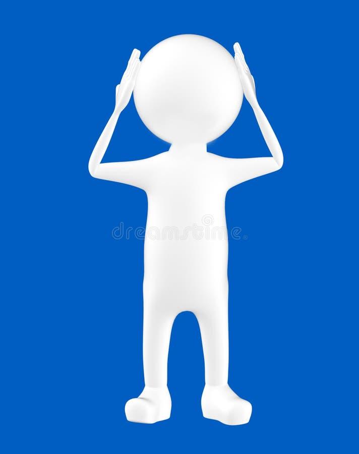 carácter blanco 3d que lleva a cabo sus manos en su cabeza ilustración del vector