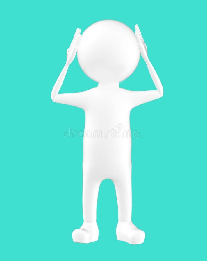 carácter blanco 3d que lleva a cabo sus manos en su cabeza stock de ilustración