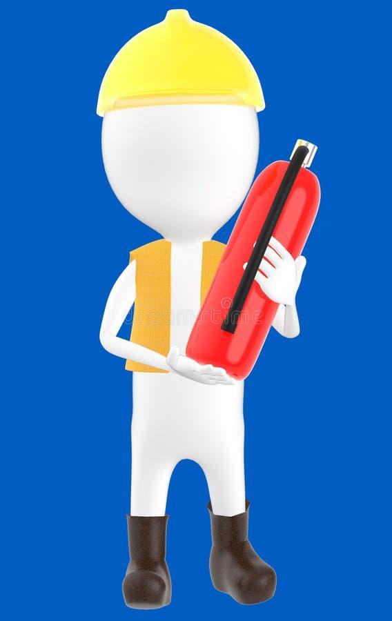 carácter blanco 3d que lleva un casco de seguridad y que sostiene un extintor disponible ilustración del vector