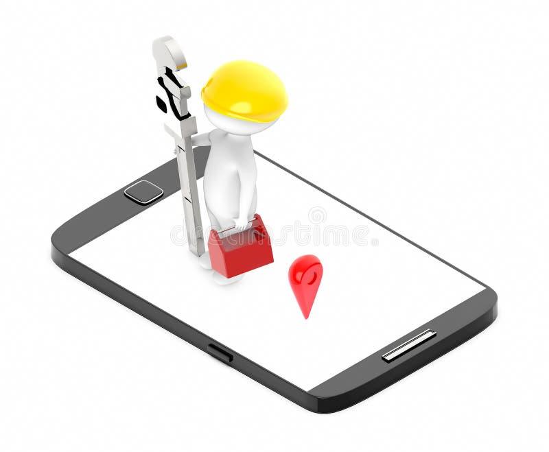 carácter blanco 3d que lleva un casquillo duro y que lleva a cabo una gama de la caja de herramientas y del tubo en una pantalla  stock de ilustración