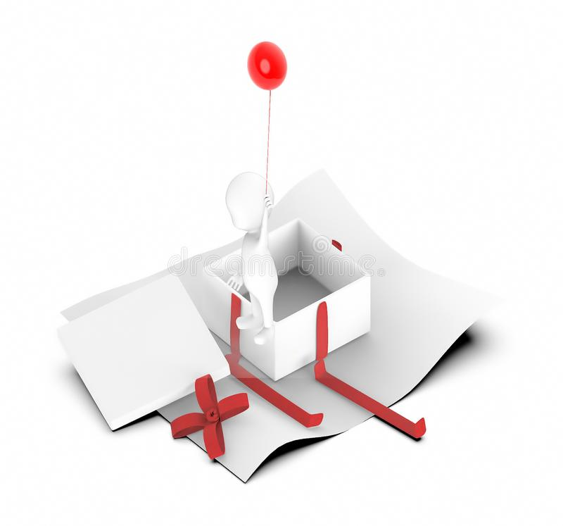 carácter blanco 3d que vuela para arriba a lo largo de a con un globo en sus manos cerca a una caja de regalo desempaquetada stock de ilustración
