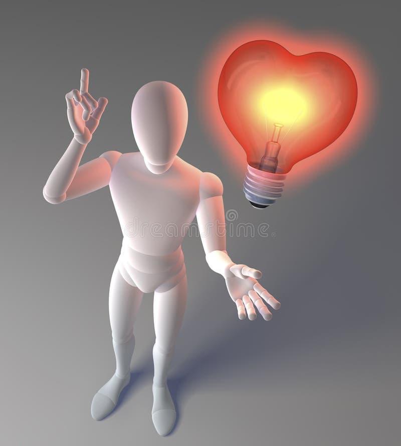 Carácter blanco, figura, hombre que hace una idea representar por una bombilla clásica roja en forma de corazón ilustración del vector