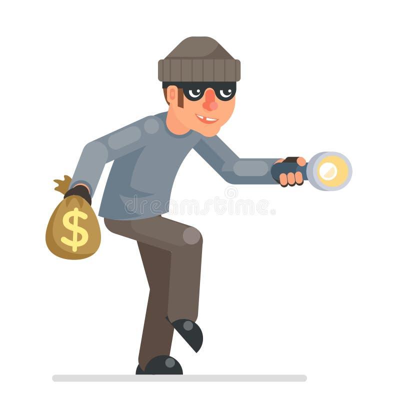 Carácter bulgar codicioso del ladrón del chivato de la mano de la linterna de las llaves de los ladrones del ladrón de casas del  libre illustration