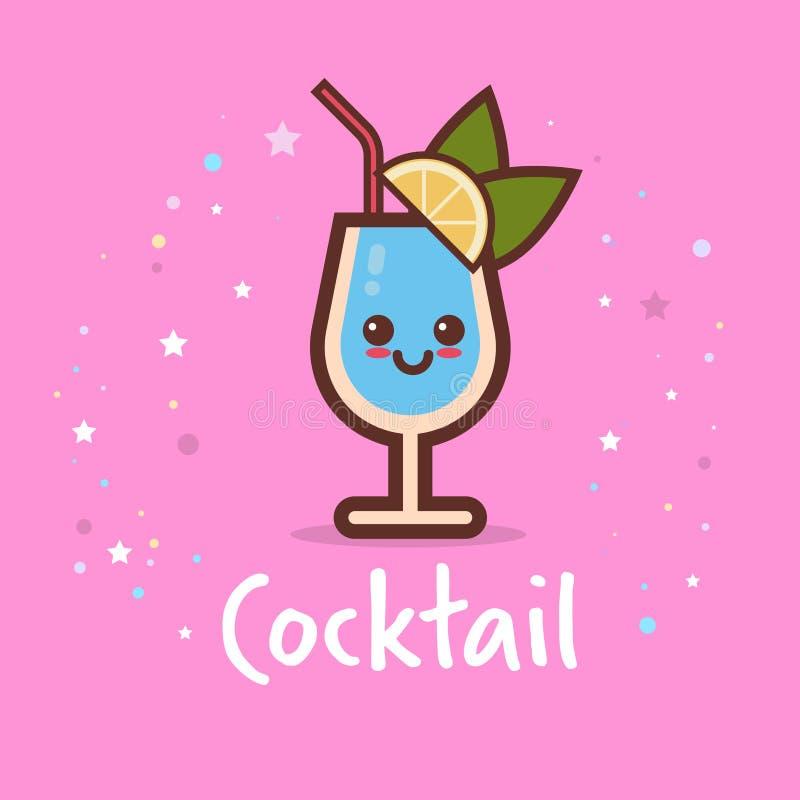 Carácter cómico de cóctel de la historieta linda del vidrio con concepto fresco sonriente de la bebida del alcohol del emoji de l stock de ilustración